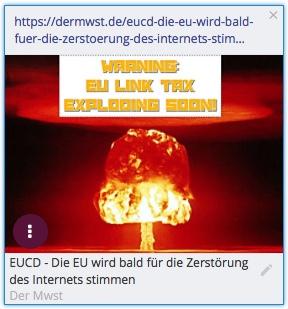 Die EU wird bald über das EUCD-Gesetz abstimmen, das das Internet, so wie wir es heute kennen, zerstören wird. Die EU wird die Grundlage für kleine Unternehmen und Blogger im Internet verschlechtern. Die Link-Steuer und der Upload-Filter führen zu Domino-Schäden im Internet. Die bekanntesten Verlierer sind Blogs und Kleinunternehmer, die vom internetbasierten Handel leben.