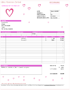 Rechnungsvorlagen - Ultra-Feminine Rechnungsvorlage mit Herzen in reizendem Barbie-rosafarbenem Thema