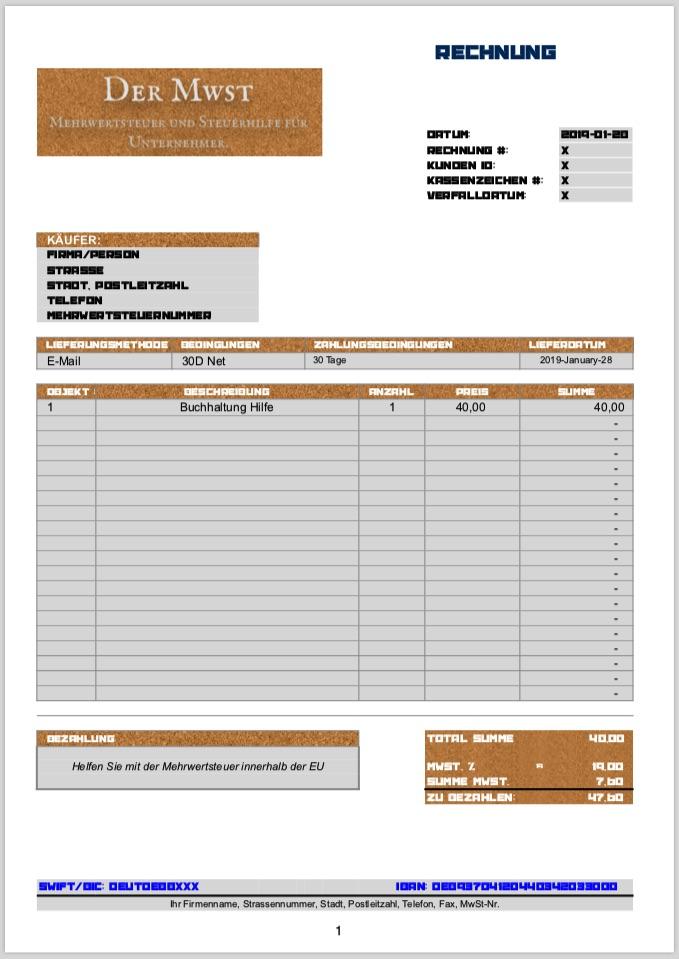 Fertige Vorlagen für Quittungen und Rechnungen